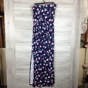 BP Navy Floral Strapless Slit Maxi Dress